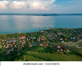 Aerial view of Badacsony hill at lake Balaton, Hungary
