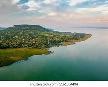 Aerial view of Badacsony hill at lake Balaton