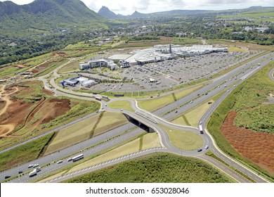 Aerial view of bagatelle bridge Mauritius road infrastructure