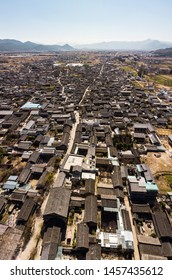 Aerial view of the Baisha traditional village in the Lijiang area in Yunnan in China