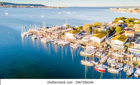 Aerial view of balaruc harbor on Thau pond in Occitanie, France