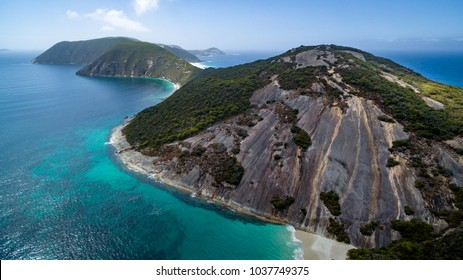 Aerial view of the Bald Head Ithmus  in the Torndirrup National Park, Albany, Western Australia