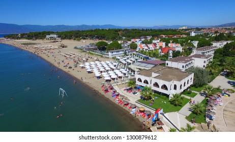 Aerial view of Balikesir Burhaniye Oren Beach is a popular tourist attraction in Turkey.