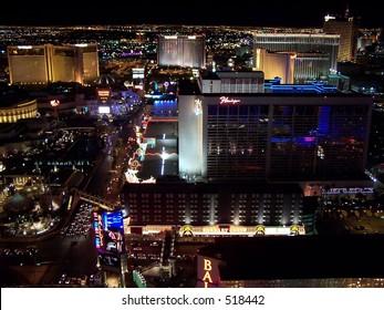 Aerial view of Bally's and Flamingo, Las Vegas