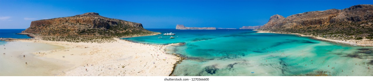 Aerial view of Balos beach near Gramvousa island in Crete. Magical turquoise waters, lagoons, Balos beach of pure white sand. Balos bay in Crete island, Greece.