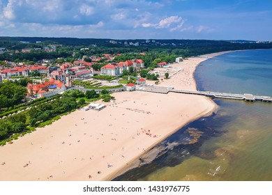 Aerial view for the Baltic sea coastline with wooden pier in Sopot, Poland