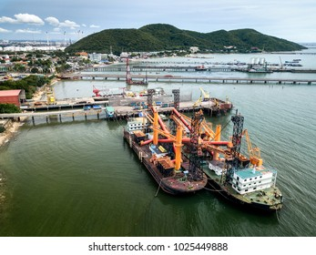 Aerial view of Ban Ao Udom ship dock, a former fishermen's villege, now cornered by growing petroleum industrial estates of Eastern Economic Corridor.