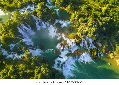 "Aerial view of "" Ban Gioc "" waterfall, Cao Bang, Vietnam. "" Ban Gioc "" waterfall is one of the top 10 waterfalls in the world."