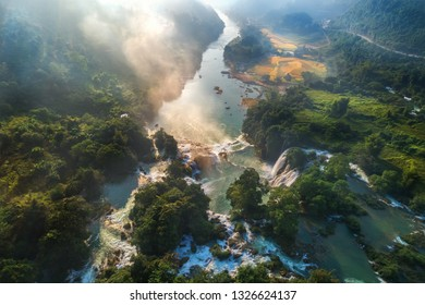 "Aerial view of "" Ban Gioc "" waterfall, Cao Bang, Vietnam. "" Ban Gioc "" waterfall is one of the top 10 waterfalls in the world. View from China."