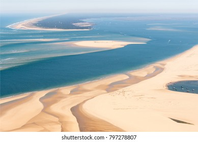 aerial view of the Banc d'Arguin near Arcachon in France