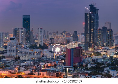 Aerial view of Bangkok buildings, Bangkok city downtown at twiling, Landmark of Asiatique The Riverfront Bangkok Thailand,Long exposure city