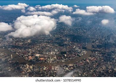 Aerial view of Bangkok city and the Chao Phraya river, Thailand