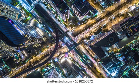 Aerial view of bangkok city modern office buildings, condominium and hotel, Bangkok, Thailand.