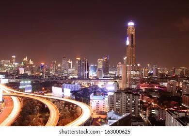Aerial view of Bangkok cityscape at night