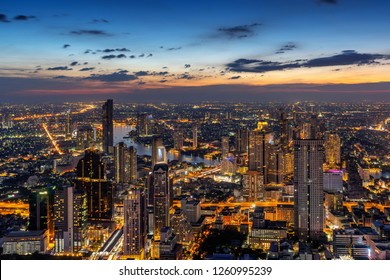 Aerial view of Bangkok cityscape, Thailand