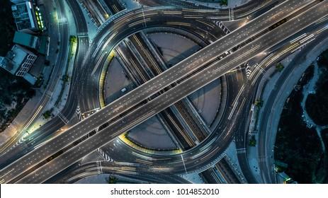 Aerial view Bangkok Expressway, Highway, Motorway, Tollway, Bangkok, Thailand.