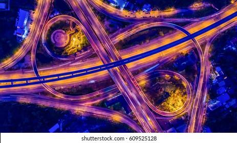 Aerial view Bangkok Expressway and Highway, Bangkok, Thailand.