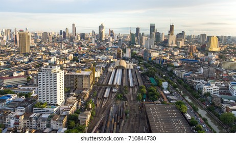 Aerial View of Bangkok Railway Station unofficially known as Hua Lamphong Station in Thailand. It is the main railway station in Bangkok, Thailand.
