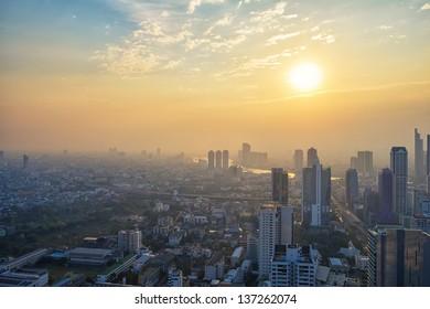 Aerial view of Bangkok at sunset