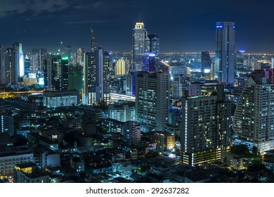 Aerial view of bangkok at twilight night.