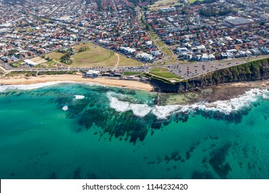 Aerial view of Bar Beach and the suburb of Cooks Hill in Newcastle Australia. Just south of the CBD area this beach side suburb is a popular area.