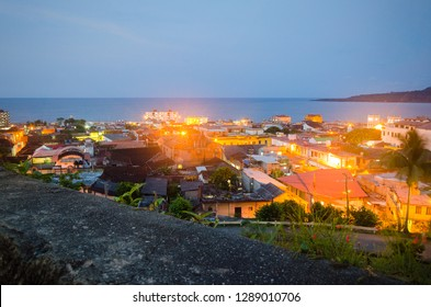 Aerial view of Baracoa in blue hour in Cuba.