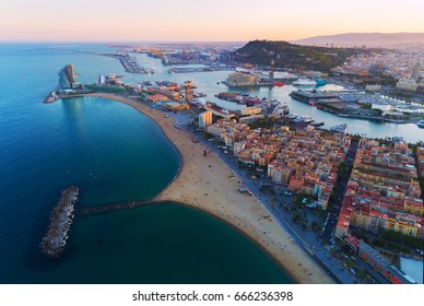 Aerial view of Barcelona.  Barceloneta beach and Port Olimpic