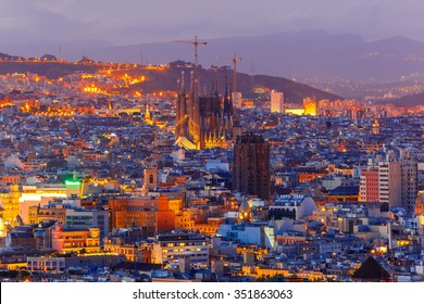 Aerial view Barcelona illuminated from the Montjuic hill at night, Catalonia, Spain.