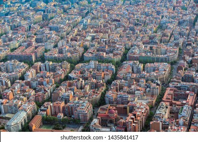 Aerial view of Barcelona main street and city skyline, Spain