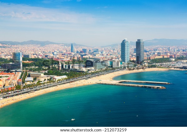 aerial view of Barcelona from Mediterranean. Barceloneta beach and Port Olimpic