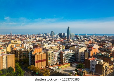 Aerial view of Barcelona, Spain, with blue sky