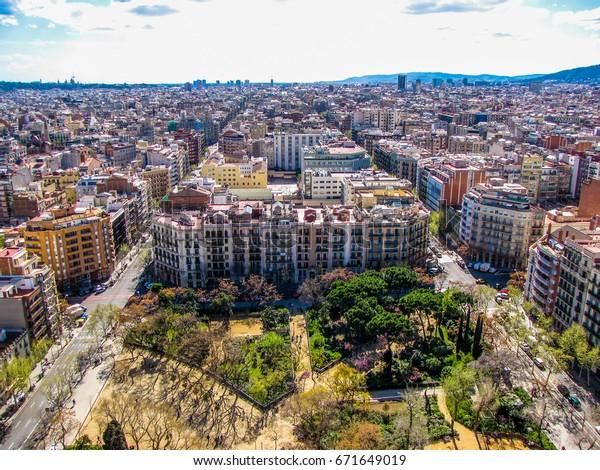 Aerial View Barcelona Spain View Sagrada Stock Photo Edit Now