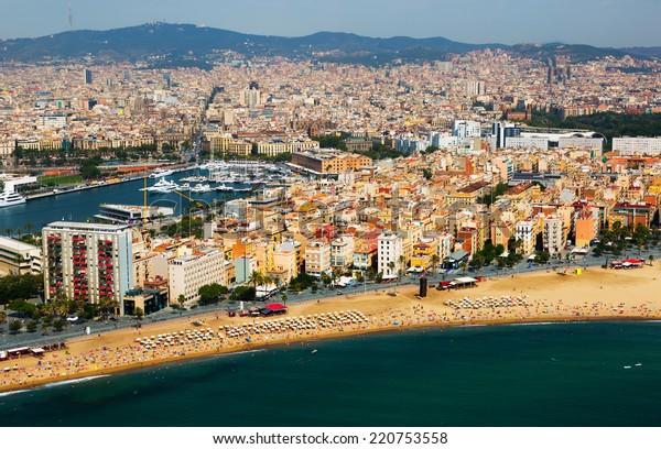 aerial view of Barceloneta beach from Mediterranean sea.  Barcelona