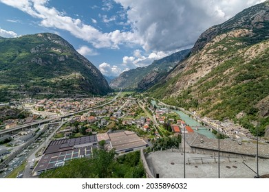 Aerial view of Bard and Hone divided by the Dora Baltea river, Aosta Valley, Italy