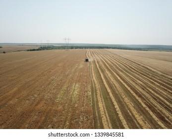 The aerial view of barley harvesting (arpa hasadi)