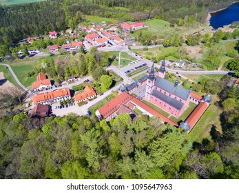 Aerial view of Baroque Marian Sanctuary in Swieta Lipka, Mazury - one of the most famous churches in Poland