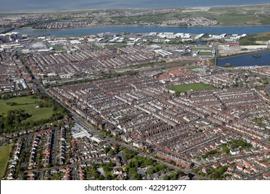 aerial view of Barrow in Furness town in Cumbria, UK