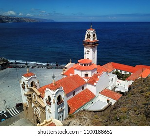 Aerial view of the Basilica in Candelaria on the Atlantic coast. Tenerife, Canary Islands, Spain