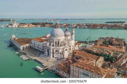 Aerial view of Basilica di Santa Maria della Salute in Venice