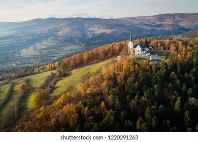 Aerial view of Basilica of the Visitation of the Blessed Virgin Mary in Levoca, Slovakia