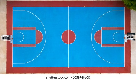 Aerial view of basketball court. field proper markings and proportions according standards.