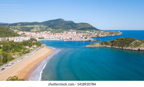 aerial view of basque fishing town and its coastline