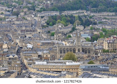 Aerial View of Bath Abbey in the Picturesque City of Bath in England - The Somerset City is One of UK's Most Popular Tourist Attractions