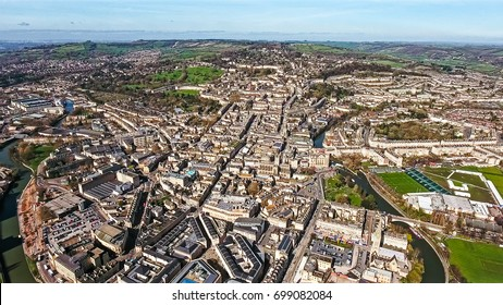 Aerial View of Bath Cityscape feat. Historical The Roman Baths, Bath Spa, Bath Pavilion and River Avon in England, UK