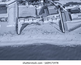 Aerial view of bathing establishment in winter in Tuscany, Italy.