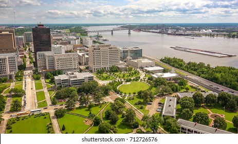 Aerial view of Baton Rouge, Louisiana and the Mississippi River