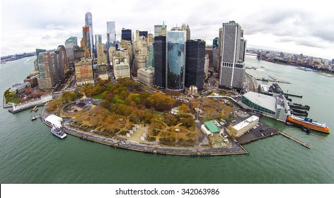 Aerial view of Battery Park City and southern Manhattan's Financial District in downtown New York City