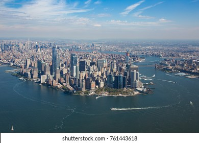 Aerial view of Manhattan, Battery Park, freedom tower, Downtown.The picture was taken from a helicopter with open doors. October 2017