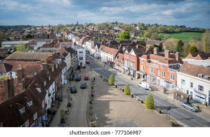 Aerial view of Battle High Street, Battle, Sussex, England, UK, April 13th 2017