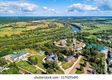 Aerial view of Baturyn Fortress with the Seym River in Chernihiv Oblast of Ukraine